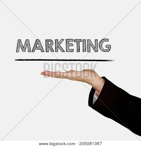 Woman showing open hand palm with text Marketing, isolated on background. Information concept.