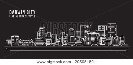 Cityscape Building Line art Vector Illustration design - Darwin city