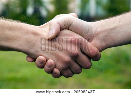business handshake of two men close up