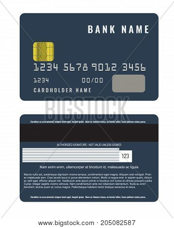 Realistic credit card with a chip front and back side view mock up. Illustrated vector