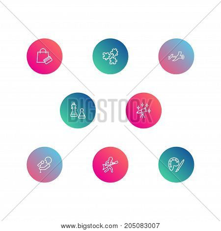 Collection Of Astronomy, Puzzle, Shopping And Other Elements.  Set Of 8 Hobbie Outline Icons Set.