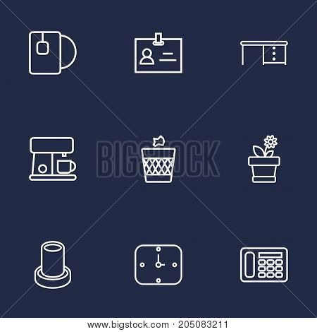 Collection Of Wastebasket, Wall Clock, Badge Id And Other Elements.  Set Of 9 Workspace Outline Icons Set.