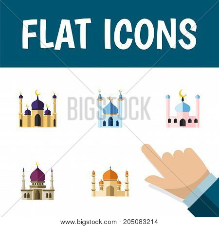 Flat Icon Mosque Set Of Mosque, Religion, Muslim And Other Vector Objects