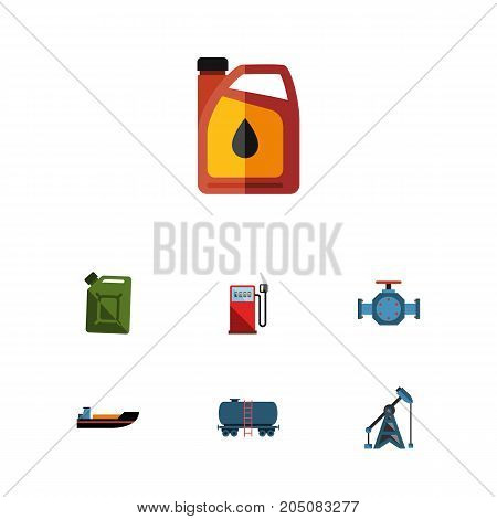 Flat Icon Petrol Set Of Flange, Jerrycan, Container And Other Vector Objects