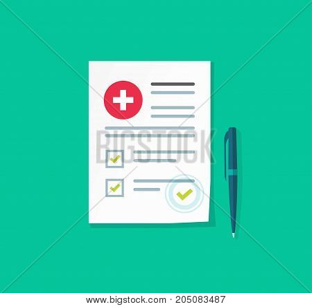 Medical or health insurance document vector illustration, flat carton paper sheet reports or patient record with medical information