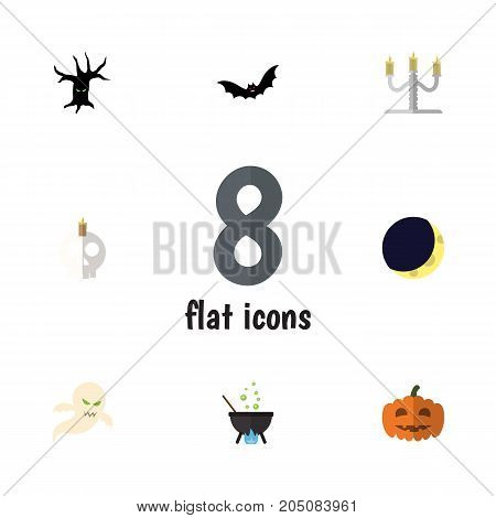 Flat Icon Halloween Set Of Ghost, Magic, Cranium And Other Vector Objects