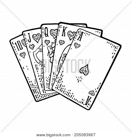 Royal flush in hearts. Playing cards poker. Vector black vintage engraving illustration for poster label banner web. Isolated on white background