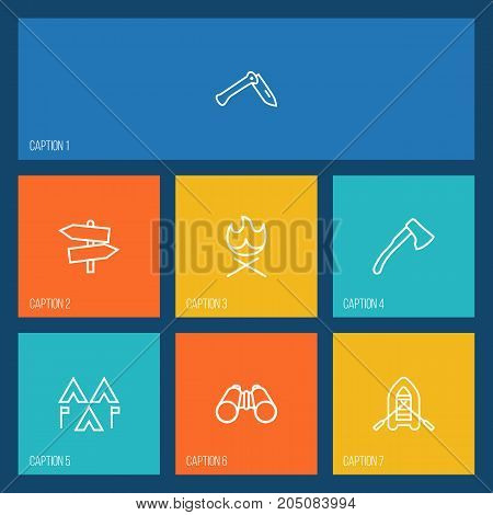 Collection Of Penknife, Binoculars, Guidepost And Other Elements.  Set Of 7 Camping Outline Icons Set.