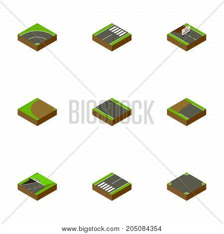 Isometric Road Set Of Subway, Footer, Crossroad And Other Vector Objects
