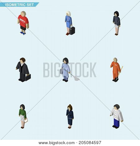 Isometric People Set Of Male, Housemaid, Hostess And Other Vector Objects