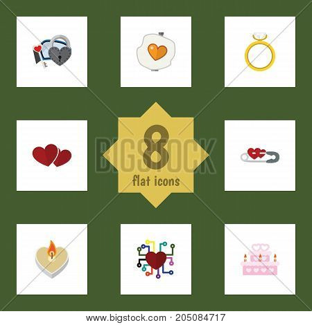 Flat Icon Amour Set Of Key, Fire Wax, Soul And Other Vector Objects