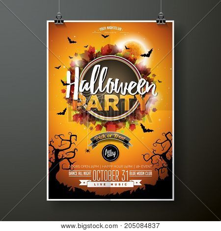 Halloween Party flyer vector illustration with moon on orange sky background. Holiday design with spiders and bats for party invitation, greeting card, banner, poster