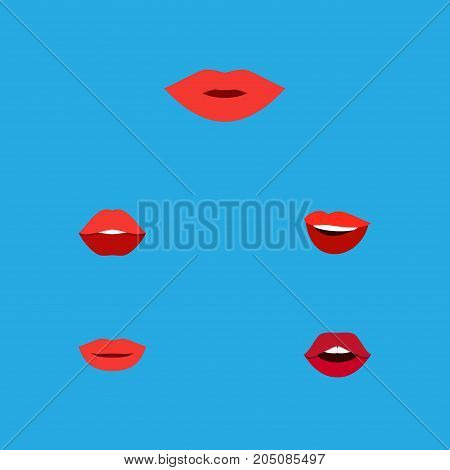 Flat Icon Mouth Set Of Mouth, Laugh, Pomade And Other Vector Objects