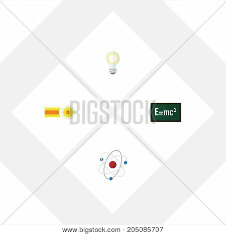 Flat Icon Science Set Of Theory Of Relativity, Chemical, Lightbulb And Other Vector Objects