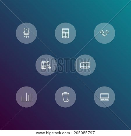 Collection Of Date, Partnership, Workplace And Other Elements.  Set Of 8 Bureau Outline Icons Set.