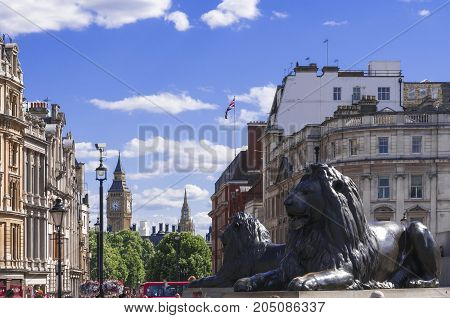 LONDON UK - AUGUST 11 2013; A view of the Big Ben from Trafalgar Square on a hot sunny day.