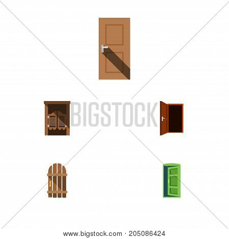Flat Icon Approach Set Of Wooden Fence, Approach, Entrance And Other Vector Objects