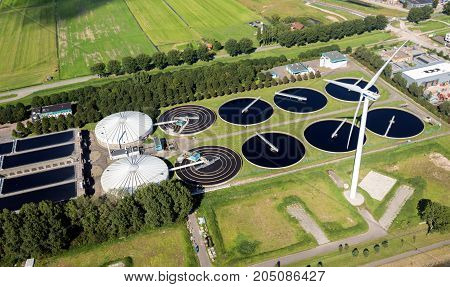 Waste Water Sewage Treatment Plant Aerial