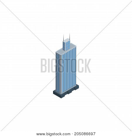 Business Center  Vector Element Can Be Used For Business, Center, Skyscraper Design Concept.  Isolated Skyscraper Isometric.