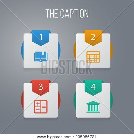Icon Learning Set Of Book, Calculator, Museum And Other Vector Objects