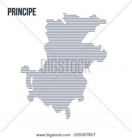 Vector Abstract Hatched Map Of Principe With Horizontal Lines Isolated On A White Background.