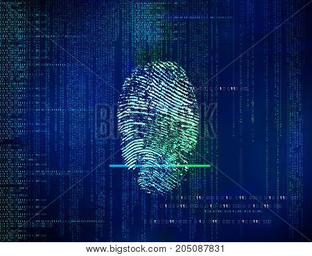 Futuristic Blue   Technology Abstract Background With Network Communication, Scan Fingerprint