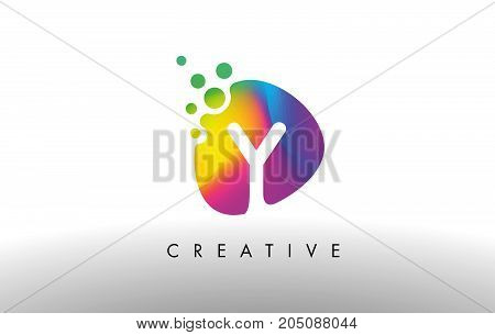 Y Colorful Logo Design Shape. Purple Abstract Shape Letter Icon.
