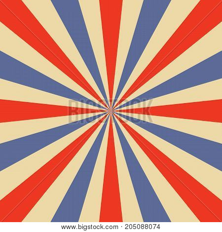 Blue and orange sunburst pattern. Vector illustration