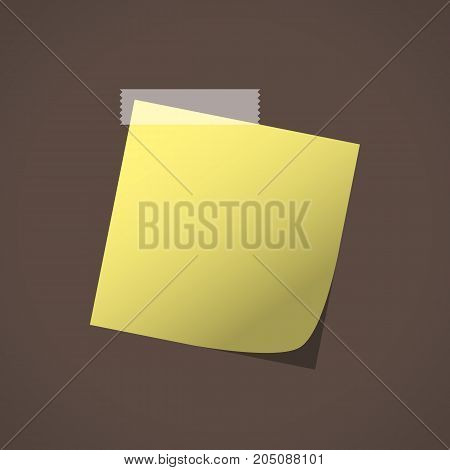 Close up of yellow note paper reminder on brown background. Vector illustration