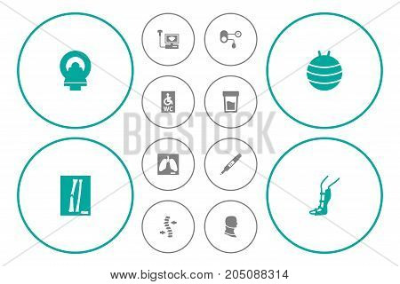 Collection Of Thorax, Broken Neck, Urine Tester And Other Elements.  Set Of 12 Medical Icons Set.