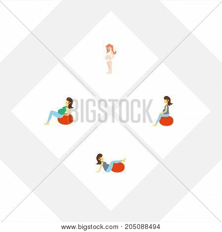 Flat Icon Pregnancy Set Of Lady, Pregnancy, Fitness And Other Vector Objects