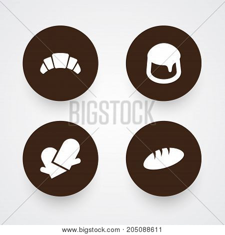 Collection Of Loaf, Dessert, Custard And Other Elements.  Set Of 4 Cooking Icons Set.