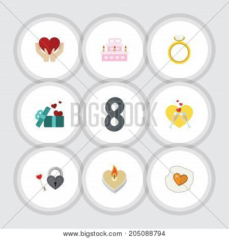 Flat Icon Love Set Of Patisserie, Save Love, Engagement And Other Vector Objects