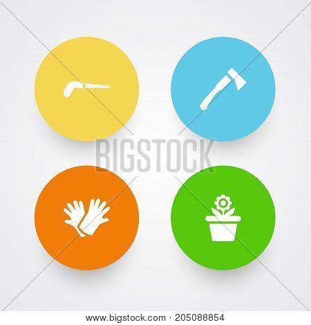 Collection Of Hacksaw, Latex, Axe And Other Elements.  Set Of 4 Horticulture Icons Set.