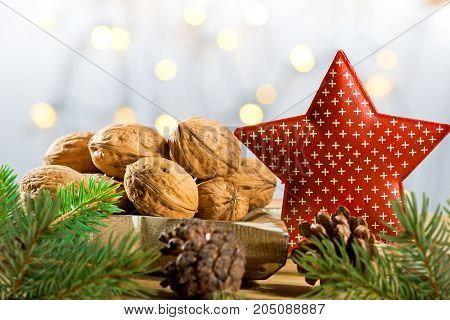 Still life with Walnuts and Red Christmas Star