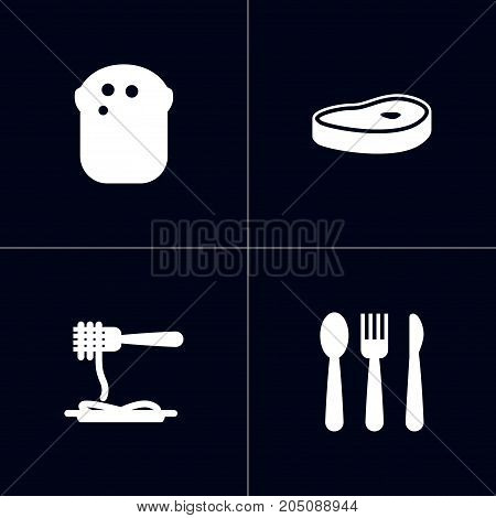 Collection Of Silverware, Vermicelli, Meat And Other Elements.  Set Of 4 Restaurant Icons Set.