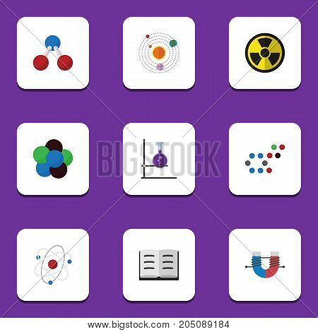 Flat Icon Study Set Of Molecule, Irradiation, Flask And Other Vector Objects