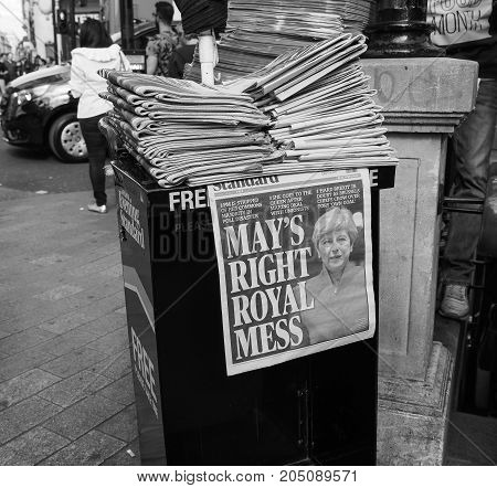 Newspapers Showing Theresa May In London Black And White