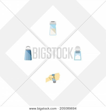 Flat Icon Salt Set Of Spice, Sodium, Flavor And Other Vector Objects