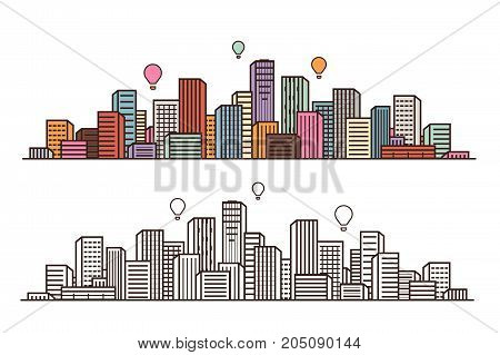 Modern city, view. Cityscape, urban landscape, construction concept. Vector illustration isolated on white background