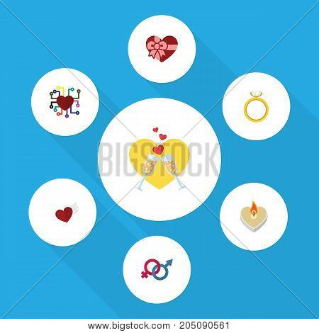 Flat Icon Amour Set Of Engagement, Emotion, Sexuality Symbol And Other Vector Objects