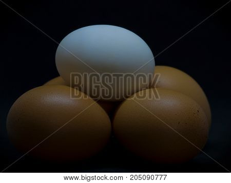(Closeup) Duck eggs and Chicken eggs healthy food On a black background.