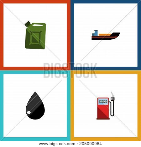Flat Icon Petrol Set Of Droplet, Fuel Canister, Boat And Other Vector Objects