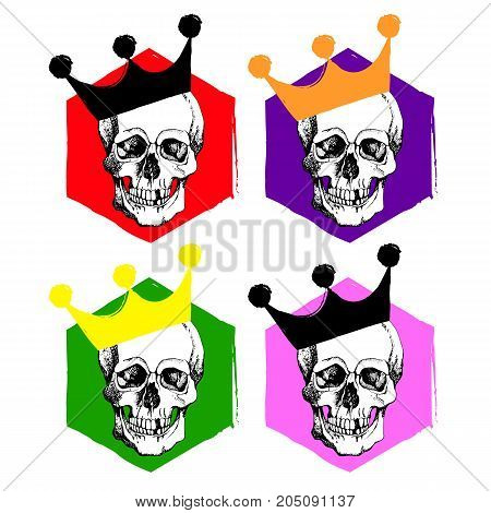 Interesting skull vector. Painted bright and attractive. Hand drawn with hatching
