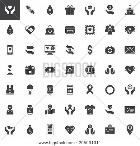 Donation vector icons set, modern solid symbol collection, filled pictogram pack. Signs, logo illustration. Set includes icons as Charity, Blood transfusion, Donors, First aid kit
