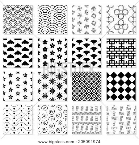 Collection of seamless Japanese patterns. Large set. Geometric vector backgrounds for your design.