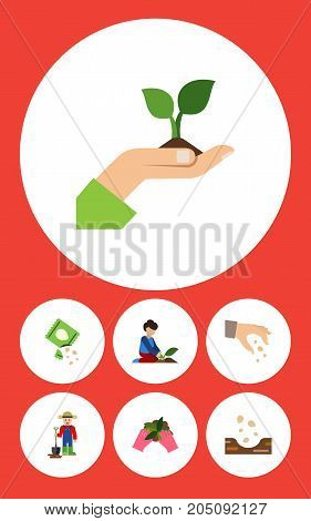 Flat Icon Seed Set Of Care, Sow, Seed And Other Vector Objects
