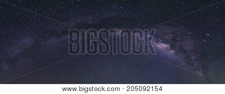 Clearly panorama milky way on night sky.