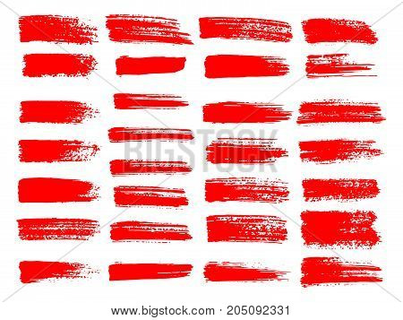 Painted Grunge Stripes Set. Red  Labels, Background, Paint Texture. Brush Strokes Vector. Handmade D