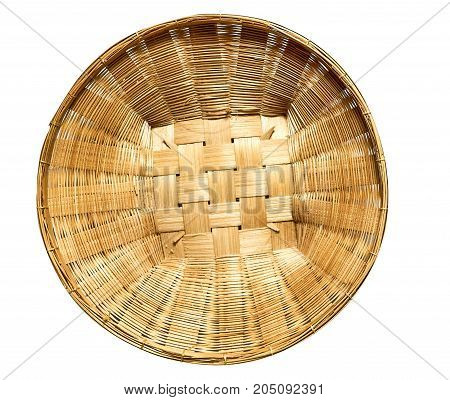 Di-cut wood basket from top view on white background